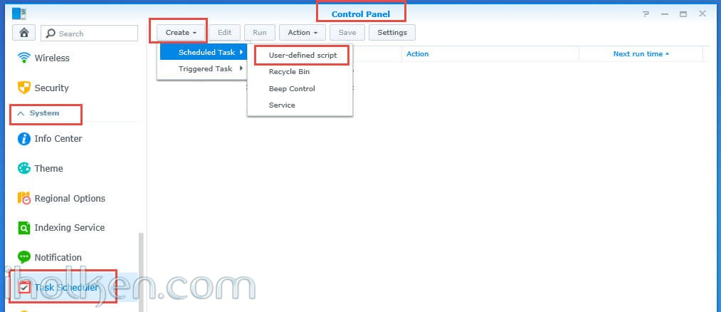Configure Owncloud to use system CRON in Synology NAS (DSM 6