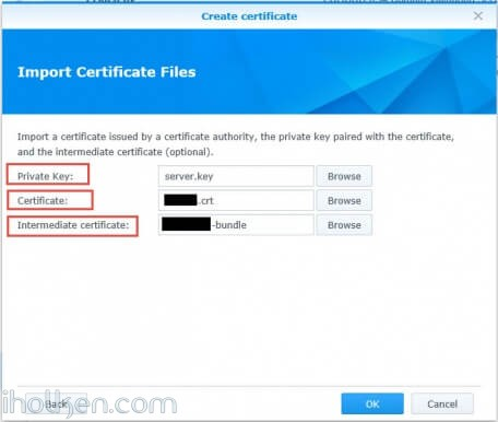 Certificates upload